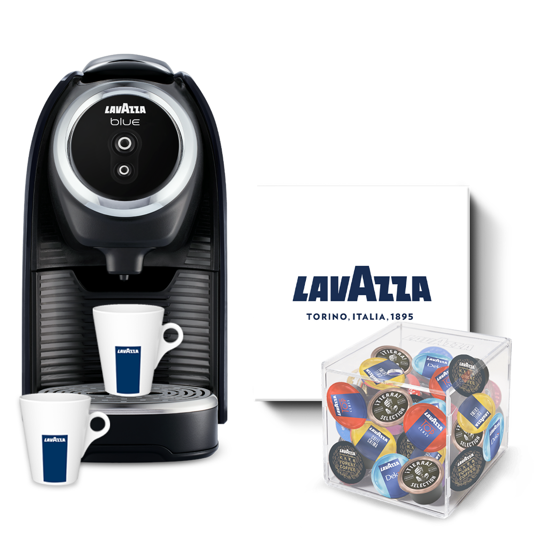 Lavazza BLUE Classy Mini incl. 125 cups, servies & capsulehouder