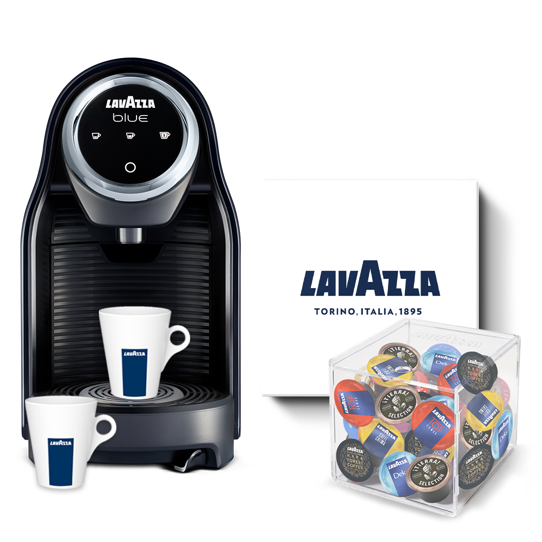 Lavazza BLUE Classy Compact incl. 125 cups, servies & capsulehouder