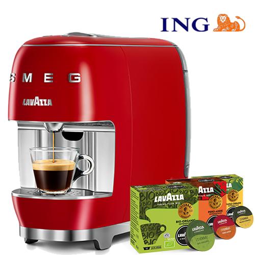 ING Deal  Smeg Red + 60 cups